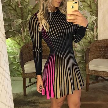 2018 New Arrival Fashion Women Summer Patchwork A-line Casual Party Elegant Dress Contrast Striped Pleated Female Mini Dress