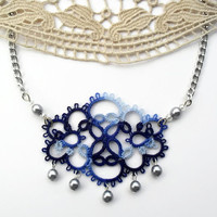 cloud necklace, light blue, blue, grey, tatting, handmade lace
