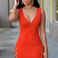 Orange Deep V Neck Cut-out Mini  Dress