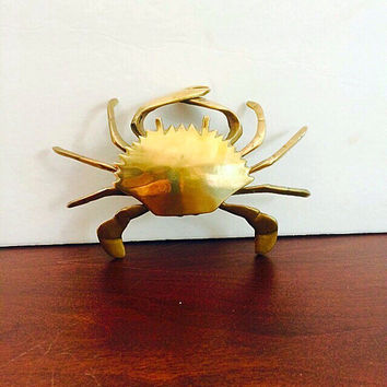 Vintage Brass Crab Box or Ashtray, Golden Crab Mid Century Decor