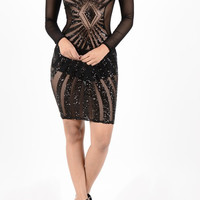 Sequin Sheer Mesh Body-con Dress ( + Colors )
