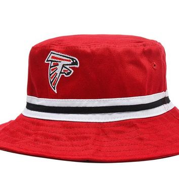 Atlanta Falcons Full Leather Bucket Hats Red