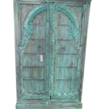 Antique Indian Cabinet Reclaimed Jodhpur Teal Patina Antique Armoire Furniture