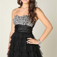 Strapless Jewel Short Homecoming Dress with Tiered Cupcake Skirt