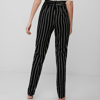 High Waisted Striped Tie Front Ankle Pant