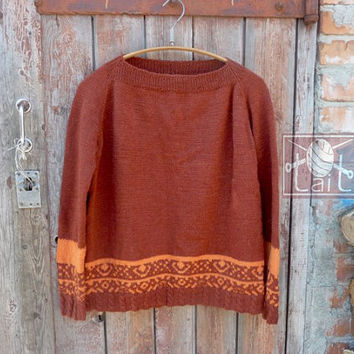Rust Wool Sweater Handknit Brown Sweater Hand knitted Loose Fit Sweater Handmade Sweater Hand knitted Pullover Womens Sweater Alpaca Sweater