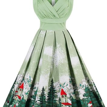 Atomic Green Snow Mountain Casual Dress
