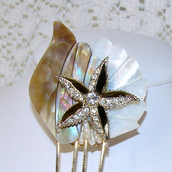 Weiss Rhinestone Starfish Hair Comb Mother Of Pearl Gold Beach Wedding Shell Hairpiece