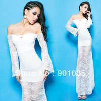 Free shipping new 2013 Sexy Women Bodycon Stretch Party Pencil lace winter office girl  long maxi dress clothing set