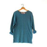 vintage slouchy shirt. green tunic top. cable knit shirt. textured knit shirt. long sleeve shirt.