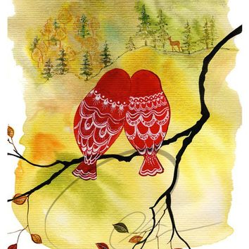 Look Deer - Art Print romantic lovebirds Valentines bedroom decor watercolor painting anniversary deer matryoshka owls lovers Oladesign 8x10