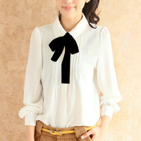 White Long Sleeve Bow Neck Chiffon Blouse