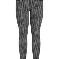 The Skinny Knit Pant With Black And Charcoal Chevron Print - Charcoal Combo