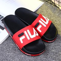 FILA Summer Popular Women Casual Simple Sandal Slipper Shoes Red
