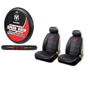 Licensed Official New Dodge Ram Premium Sideless Front Seat Covers & Steering Wheel Cover Set