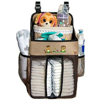 Diaper Caddy and Baby Scissors - 17x9x9 Inch Diapers Holder for Boys and Girls Made of 600D Water Resistant Polyester – Hanging Nursery Organizer Also Suitable for Your...