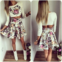 White Floral Print Long Sleeve and High Waisted Skater Dress