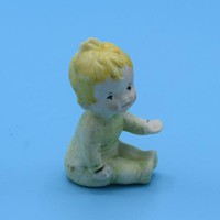 Baby Boy Bisque Miniature Figurine Vintage Tiny Porcelain Painted Baby Cake Topper Baby Shower Gift Nursery Decor Shadowbox Free Shipping