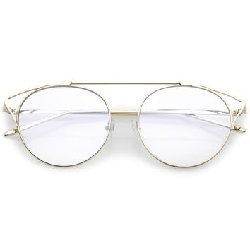 Retro Modern Full Metal Wire Frame Clear Lens Glasses C292