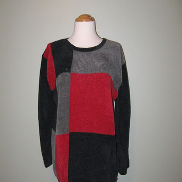 Vintage 80s Color Block Sweater / Women / Black Red Gray / Oversized Sweater / Valentine's Day / L / XL