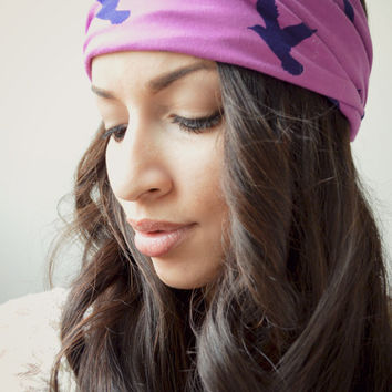 Purple Bird Stretchy headwrap, Boho Hippie Head wrap