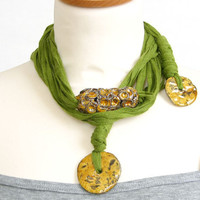 Skinny scarf lariat fiber necklace scarf necklace cotton ceramic long green brown vegan ooak ceramic beads curationnation therougett