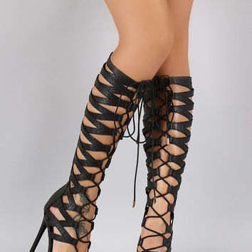 Privileged Snake Embossed Gladiator Heel
