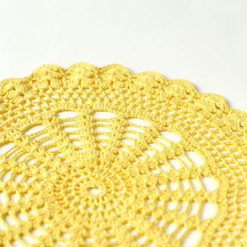 Vintage crocheted doily yellow from USSR by SovietEra on Etsy