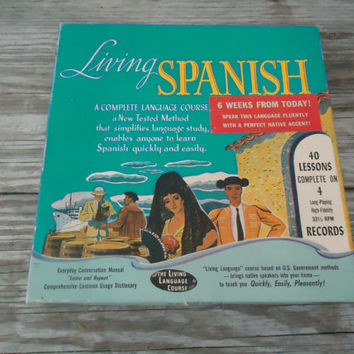 1955 Living Spanish Language Course 40 Lessons on 4 LP 33 1/3 Records and Manual