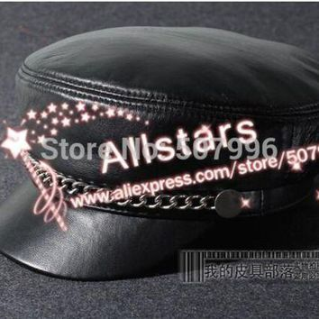 Fashion Women Casual Chain Genuine Leather Hat Vintage Cap Motorcycle Sheepskin Material Cap D 1854