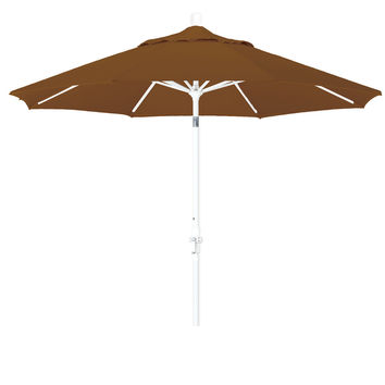 9 Foot Sunbrella 3A Fabric Aluminum Crank Lift Collar Tilt Patio Umbrella with White Pole