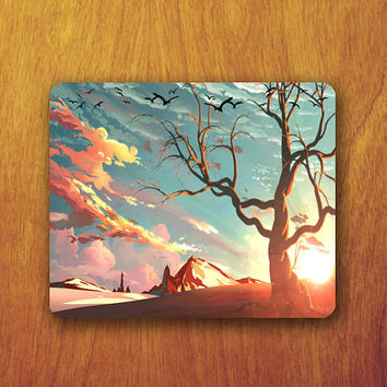 Beautiful Tree Painting Mouse Pad Mountain Sun set Bird Shadow MousePad Lonely Office Pad Work Accessory Personalized Custom for Techer Gift