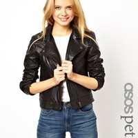 ASOS PETITE Exclusive Leather Biker Jacket - Black