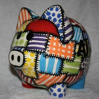 Piggy Bank Quilted Colors by Zipote on Etsy