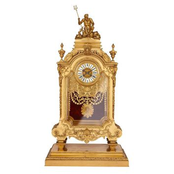 Large French Antique Ormolu Mantel Clock by Ferdinand Barbedienne