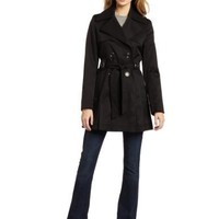 Via Spiga Women`s Double Breasted Belted Spring Trench Coat With Pleated Back