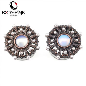 Burnished Rose Gold Opal Acrylic Pearl Center Filigree Plug Gauges Piercing Jewelry 1 Pair 12-30mm
