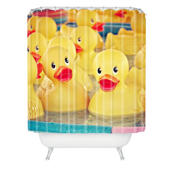 Shannon Clark Rubber Duckies Shower Curtain