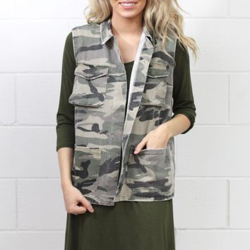 Military Babe Camouflage Vest {Olive}