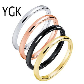 Tungsten Wedding Ring Band | 2MM | Rose Gold/Gold/Silver/Black | Stackable