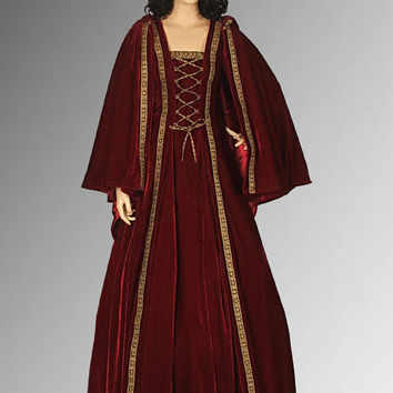 Medieval Gown with Shoulder Cape Handmade from Brocade and Velvet, Renaissance dress Red Multiple Colors Available
