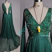 Vintage 1980S Style Black Green Beaded Evening Dresses,Long Train Custom Made Party prom Dresses,Formal Party Grown