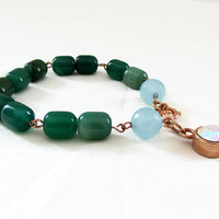Green agate bracelet, rose gold t bar bracelet, Semi precious gemstone bracelet, green gemstone jewelry, handmade in the UK