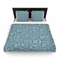 "Maike Thoma ""Layered Circles Design"" Blue Floral Woven Duvet Cover"
