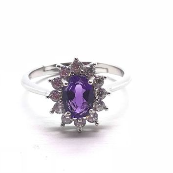 High quality Natural Amethyst Ring , Sterling Silver Halo amethyst CZ Star Promise engagement anniversary Solitaire Amethyst Ring adjustable