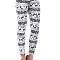 Aoki Fashion - Fleece Lined Reindeer Leggings