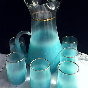 c1945 Rare Hand Blown Aquamarine Blendo Gold Rim Lemonade Pitcher & 6 Glasses