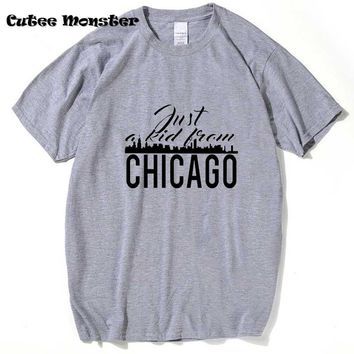 2018 Just A Kid From Chicago T-Shirt Chicago Cubs Jake Face T shirts Hip Hop Letter Top Tees Clothing 3XL