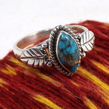 Antique Unisex Turquoise Gemstone 925 Sterling Silver Leaf Ring Size 6-10