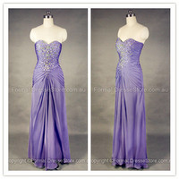 Prom Dresses Australia — Sweetheart Chiffon Lilac Crystal Formal Dresses at Edressestore.com.au
